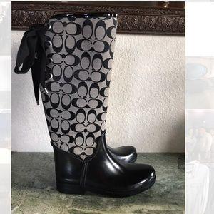Women's Coach Tristee Rainboots Size 8 Black